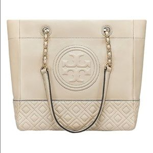 Tory Burch Fleming Taupe Leather Tote